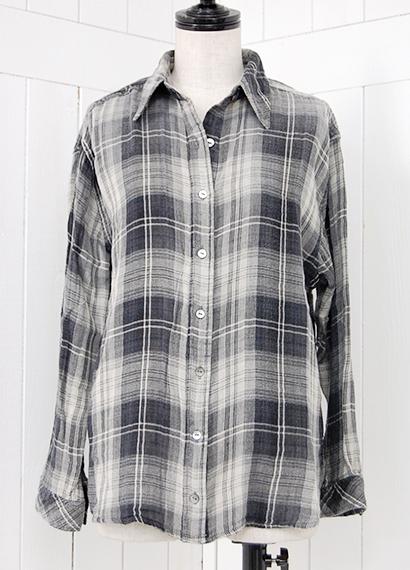 白黒チェック ルーズシャツ